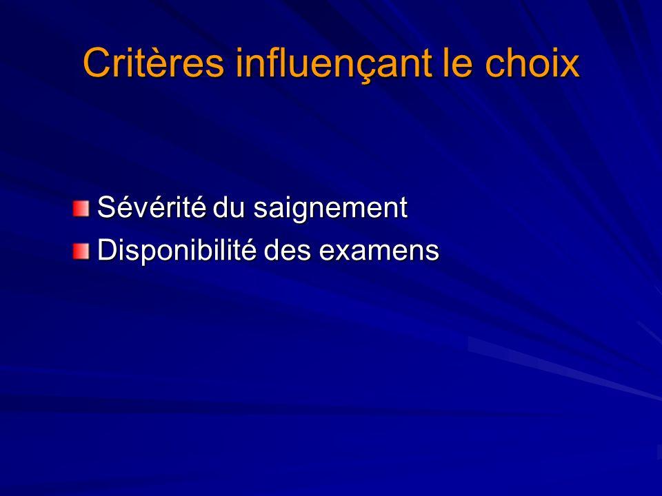 Critères influençant le choix