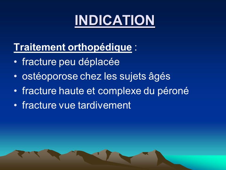 INDICATION Traitement orthopédique : fracture peu déplacée