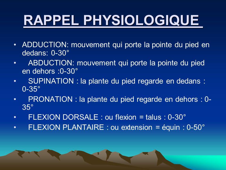 RAPPEL PHYSIOLOGIQUE ADDUCTION: mouvement qui porte la pointe du pied en dedans: 0-30°
