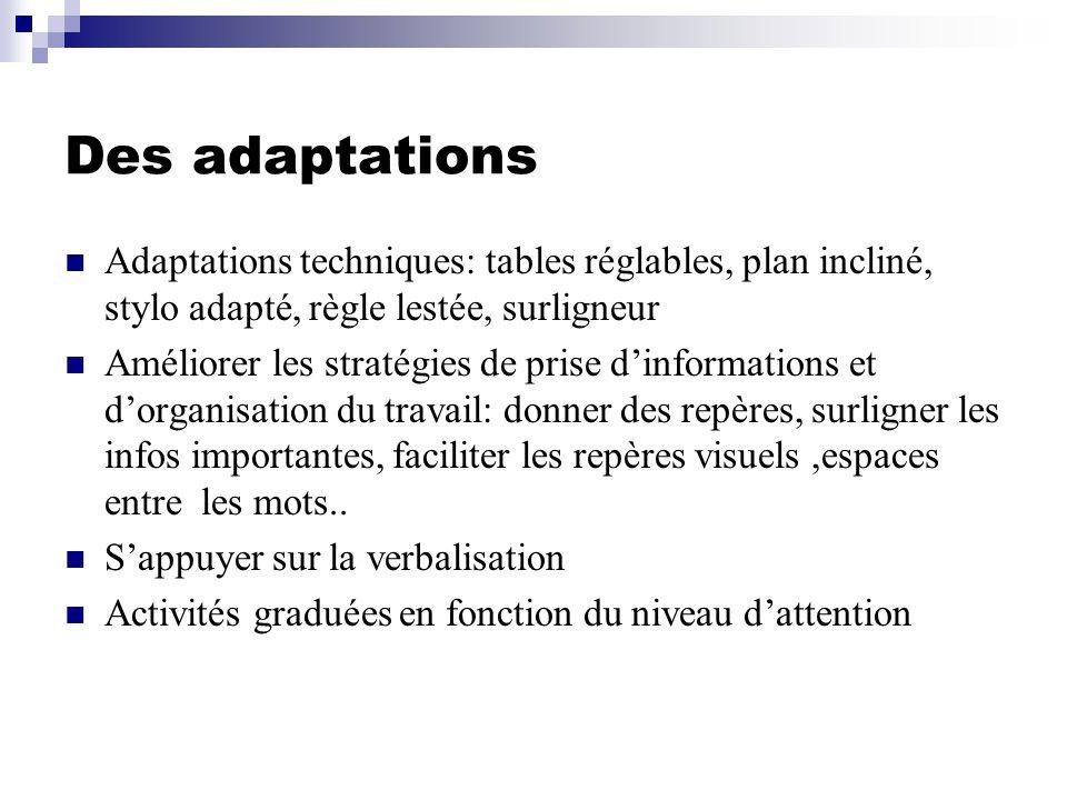 Des adaptations Adaptations techniques: tables réglables, plan incliné, stylo adapté, règle lestée, surligneur.
