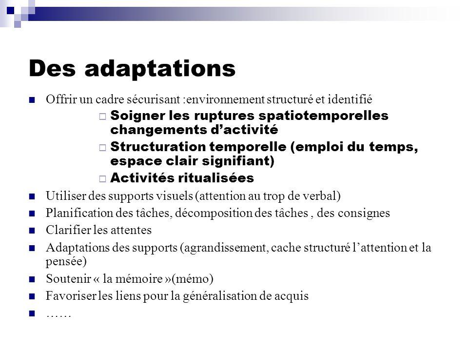 Des adaptations Offrir un cadre sécurisant :environnement structuré et identifié. Soigner les ruptures spatiotemporelles changements d'activité.