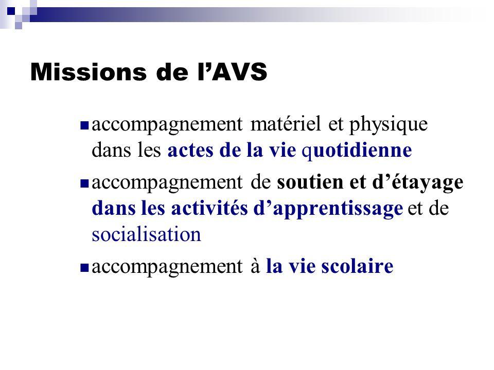 Missions de l'AVS accompagnement matériel et physique dans les actes de la vie quotidienne.