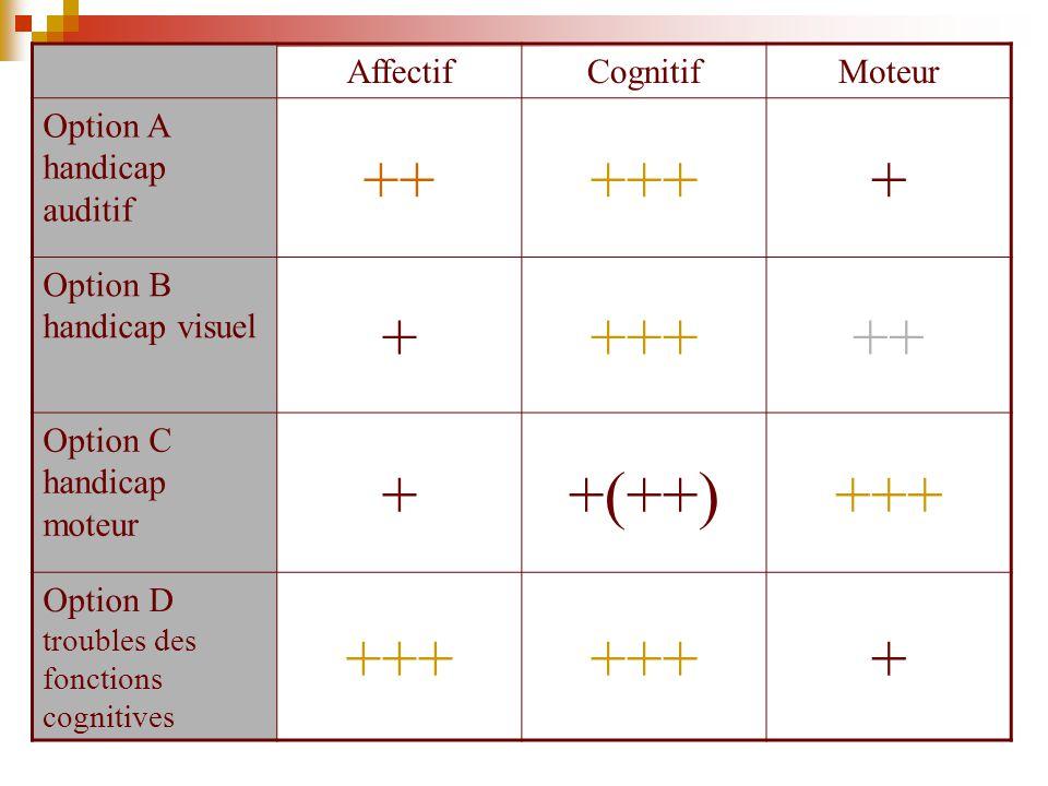 ++ +++ + +(++) Affectif Cognitif Moteur Option A handicap auditif