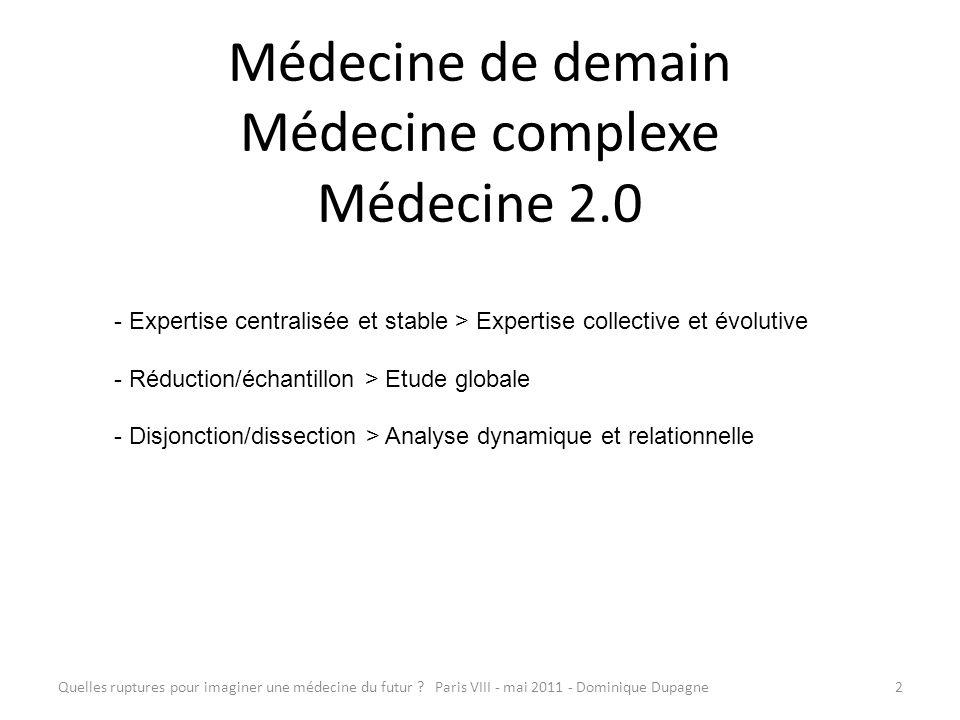 Médecine de demain Médecine complexe Médecine 2.0