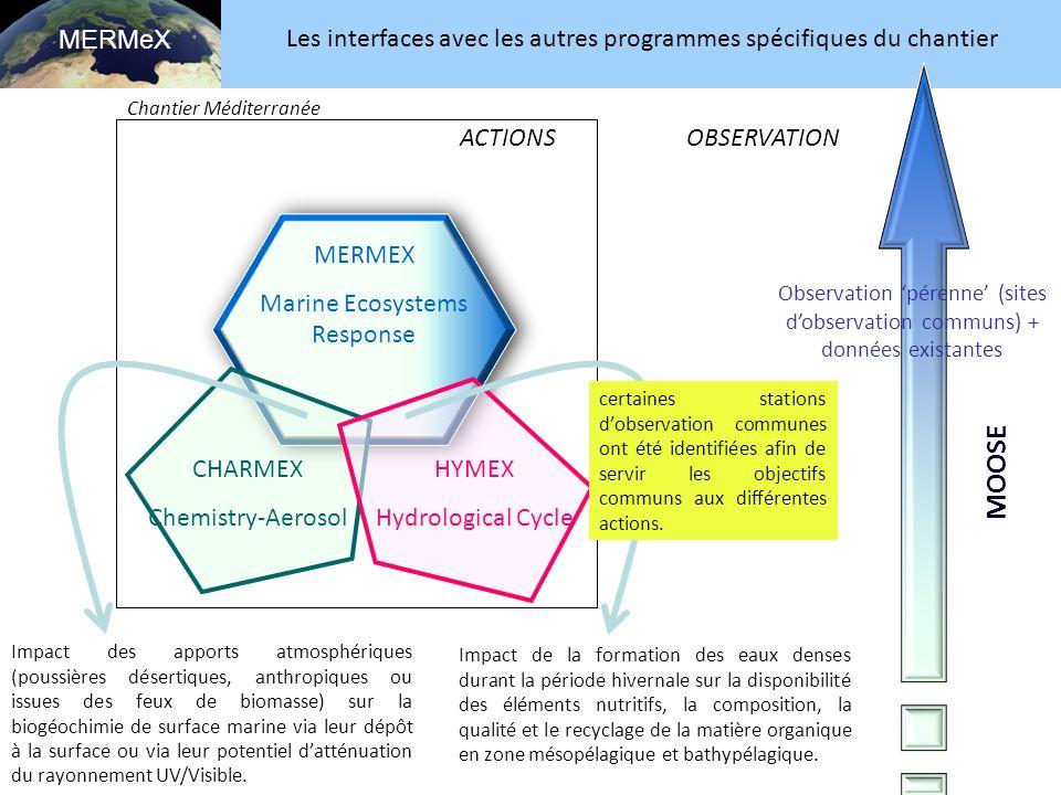 MERMeX Les interfaces avec les autres programmes spécifiques du chantier. Chantier Méditerranée. ACTIONS.