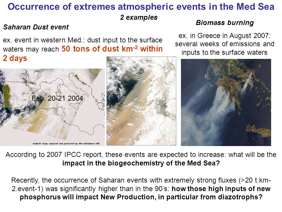 Occurrence of extremes atmospheric events in the Med Sea