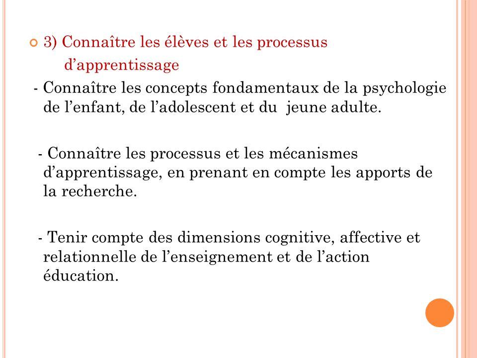 3) Connaître les élèves et les processus