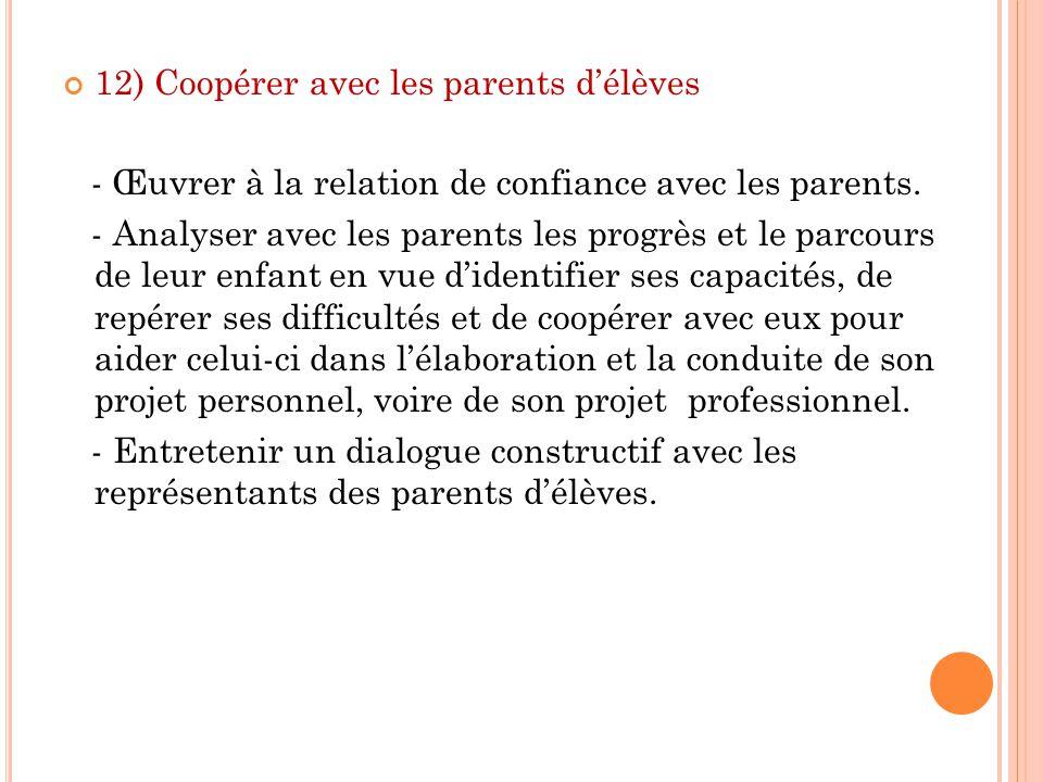 12) Coopérer avec les parents d'élèves