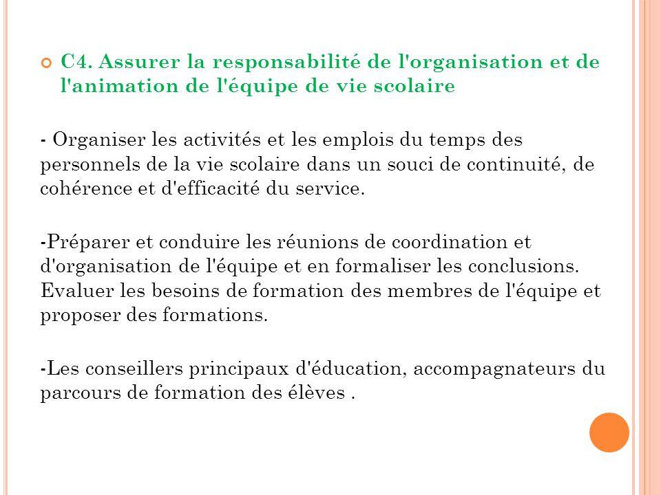 C4. Assurer la responsabilité de l organisation et de l animation de l équipe de vie scolaire