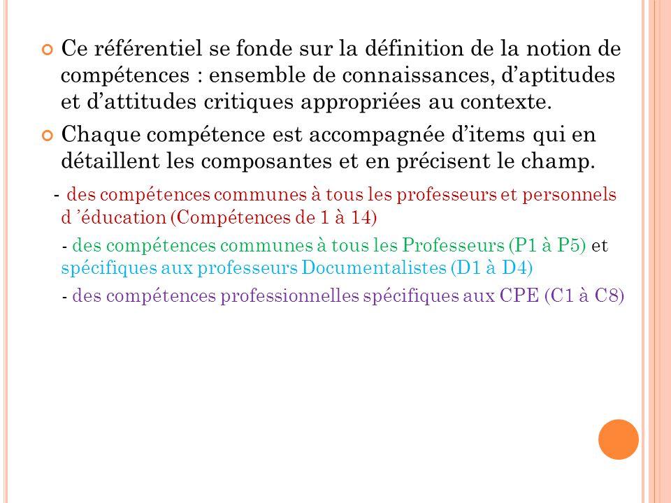 Ce référentiel se fonde sur la définition de la notion de compétences : ensemble de connaissances, d'aptitudes et d'attitudes critiques appropriées au contexte.