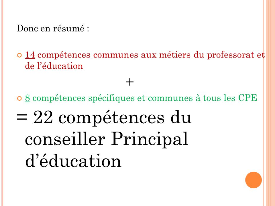 = 22 compétences du conseiller Principal d'éducation