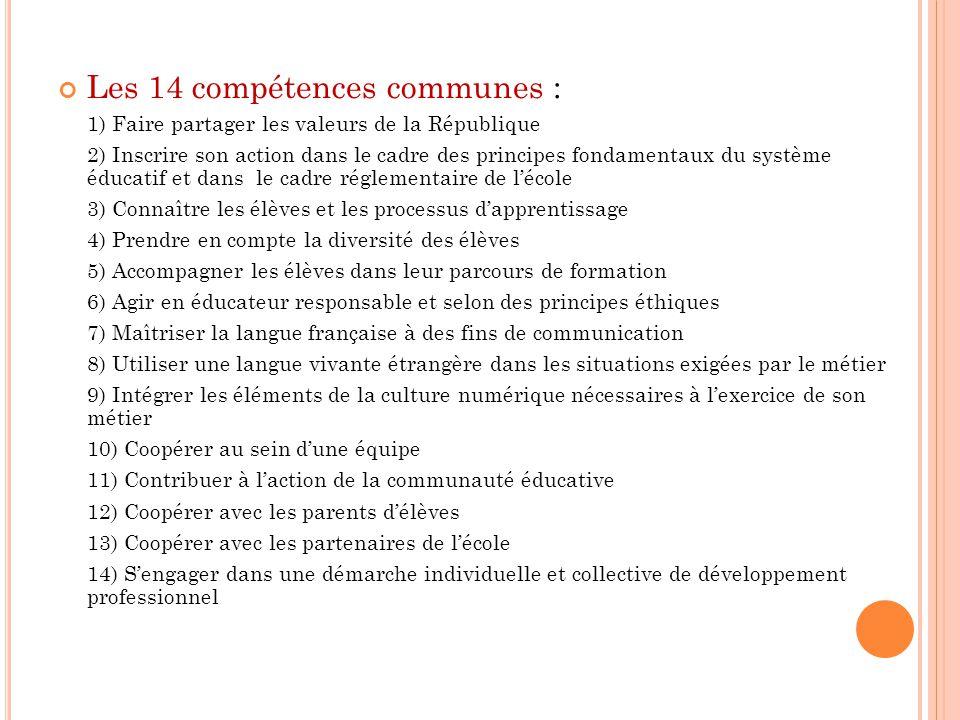 Les 14 compétences communes :