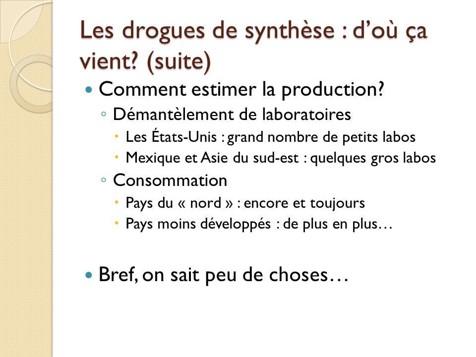 Les drogues de synthèse : d'où ça vient (suite)