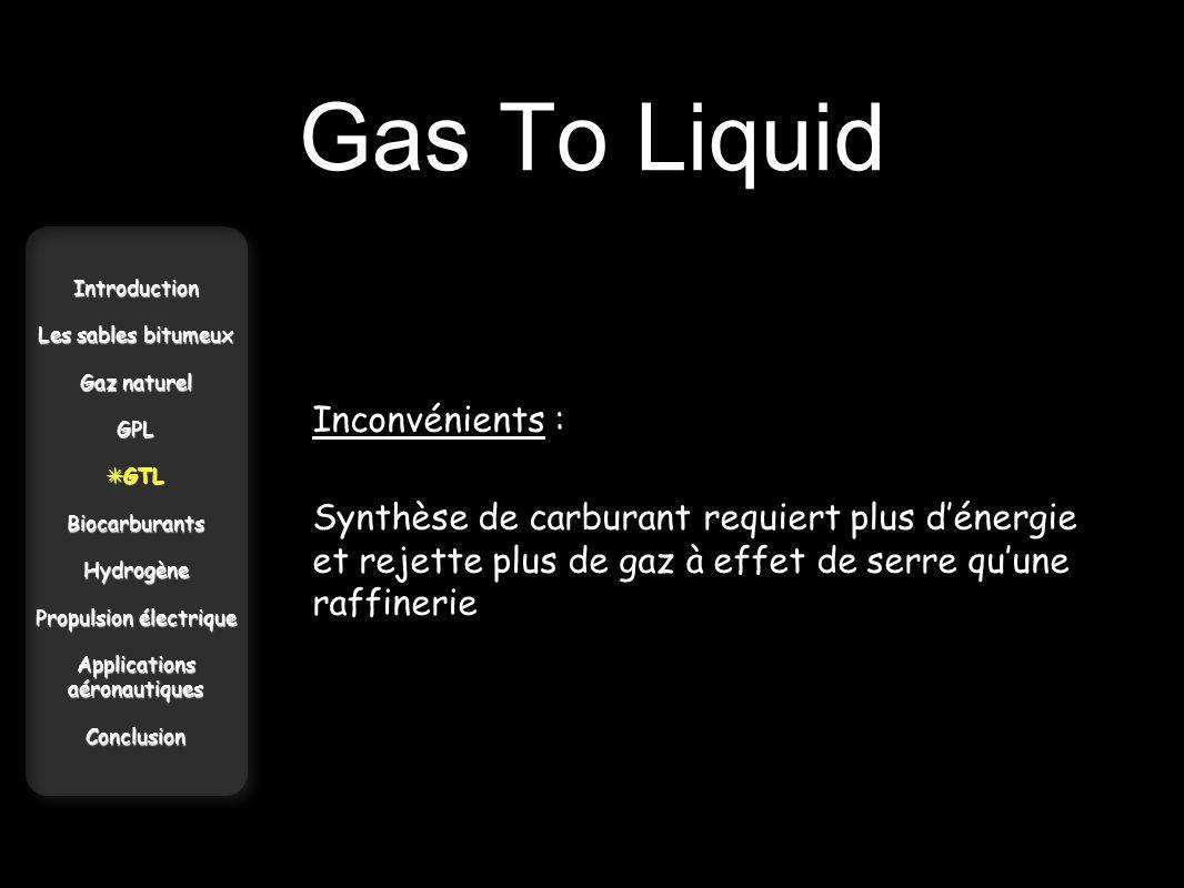 Gas To Liquid Inconvénients :