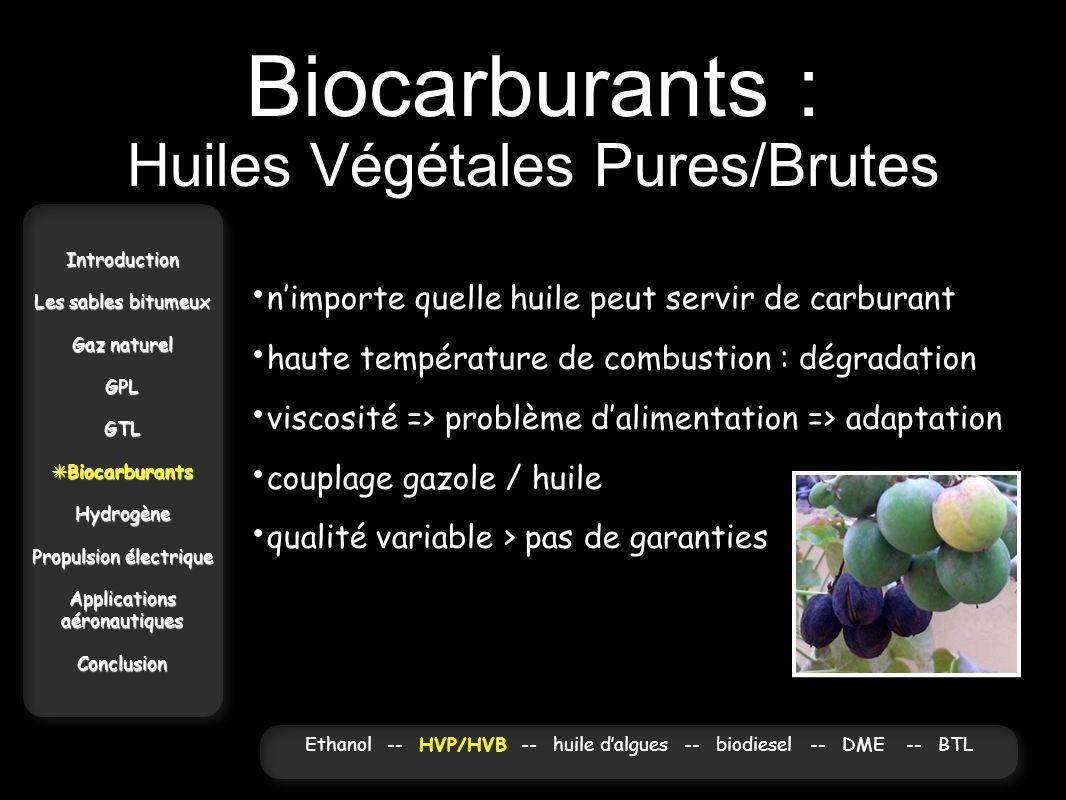 Biocarburants : Huiles Végétales Pures/Brutes