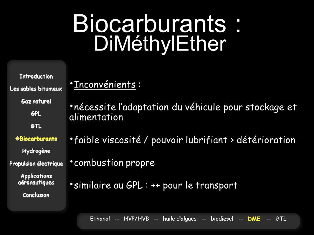 Biocarburants : DiMéthylEther