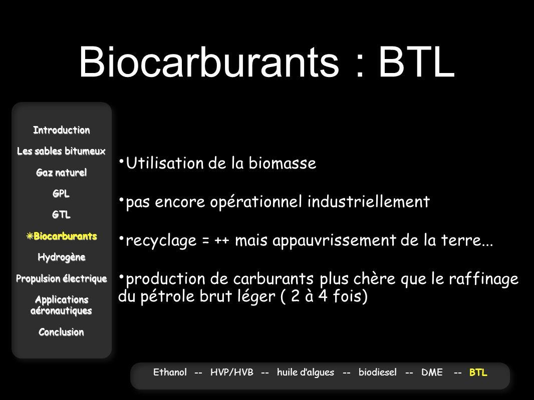 Biocarburants : BTL Utilisation de la biomasse