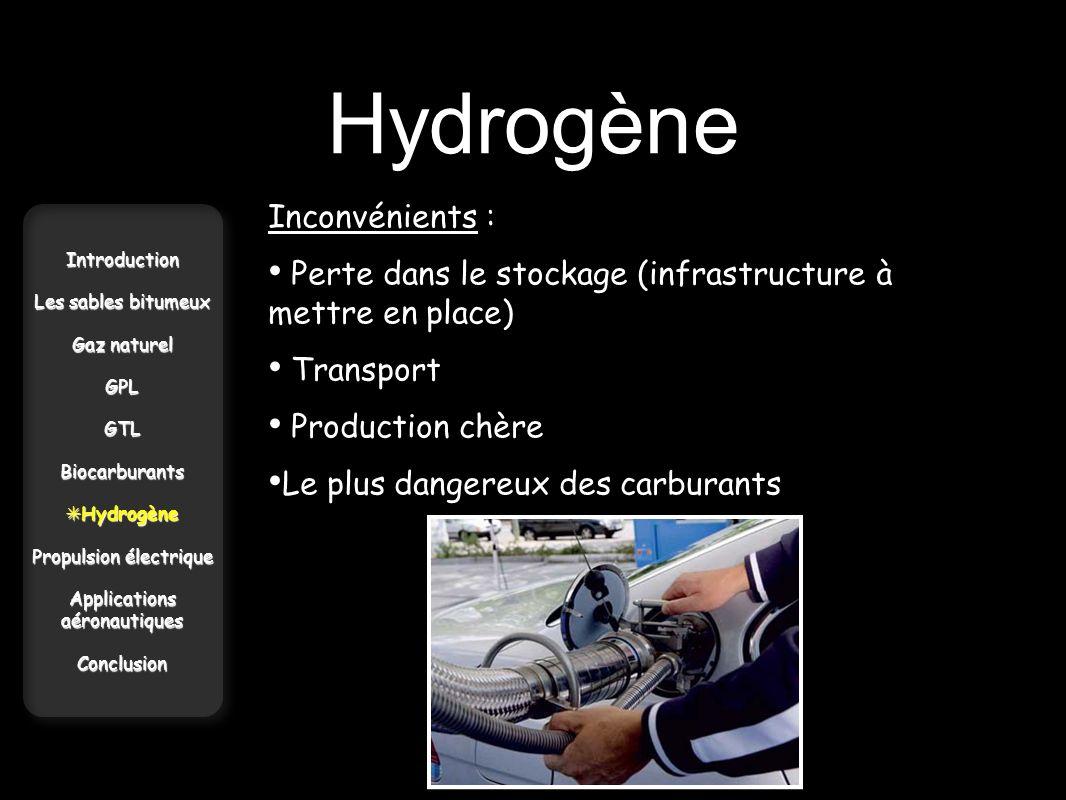 Hydrogène Inconvénients :