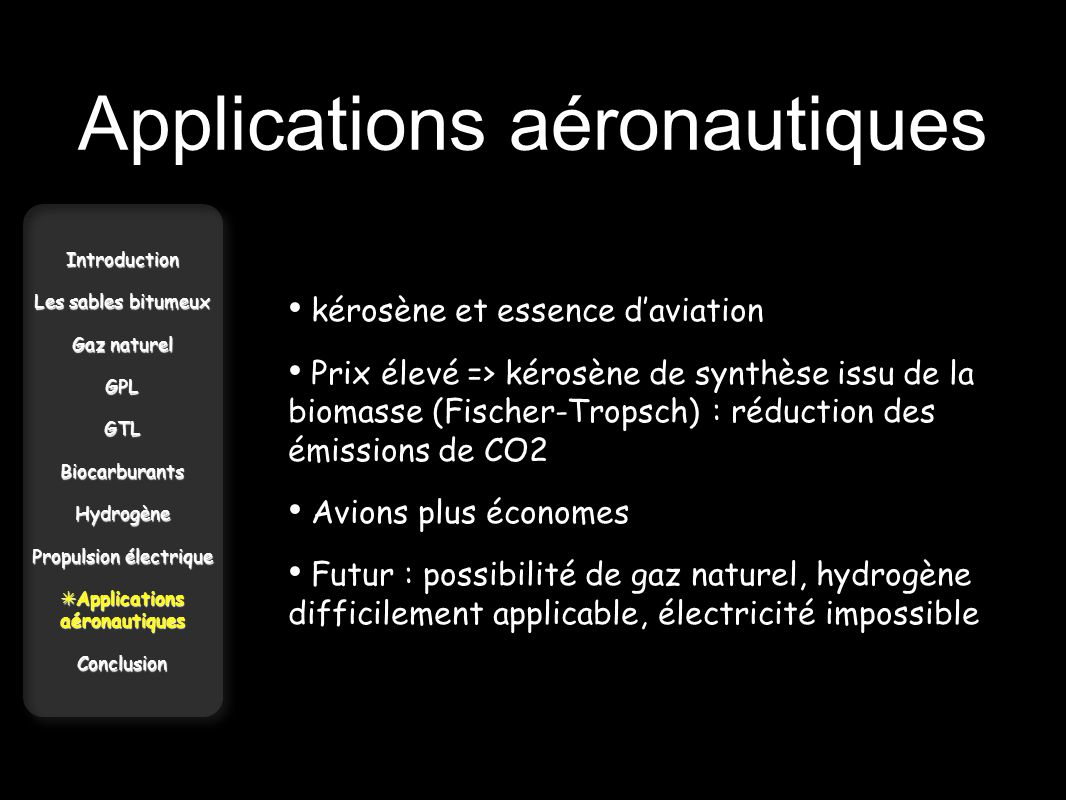 Applications aéronautiques