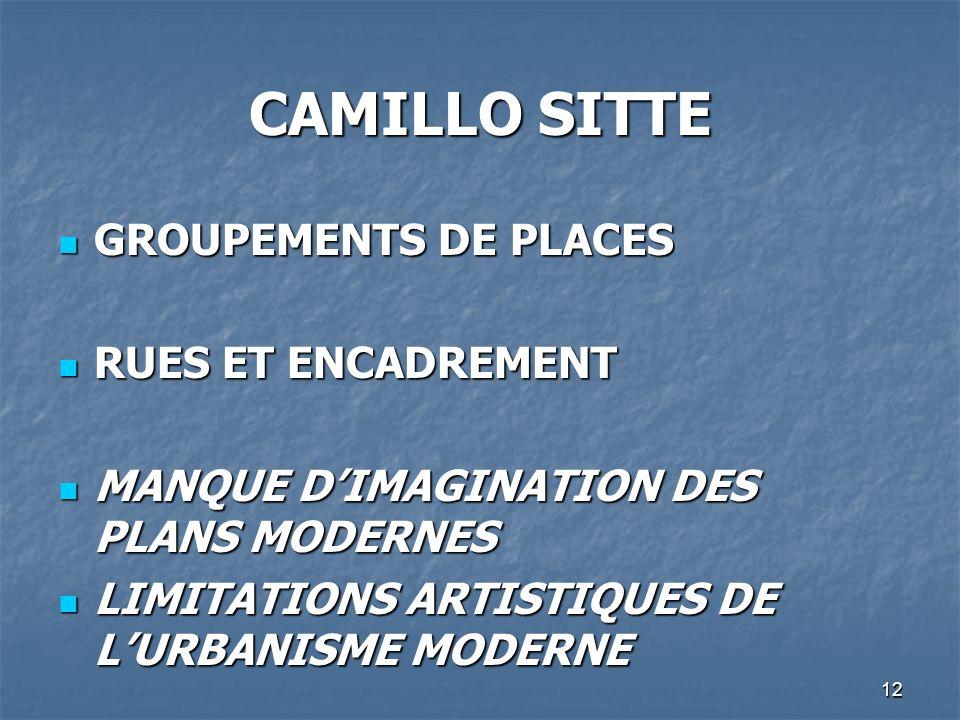 CAMILLO SITTE GROUPEMENTS DE PLACES RUES ET ENCADREMENT