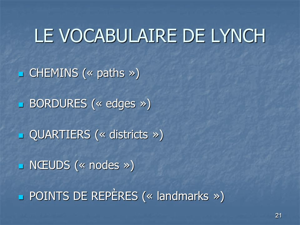 LE VOCABULAIRE DE LYNCH