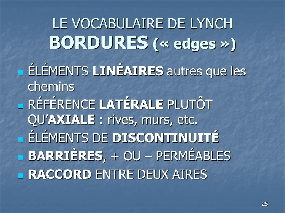 LE VOCABULAIRE DE LYNCH BORDURES (« edges »)