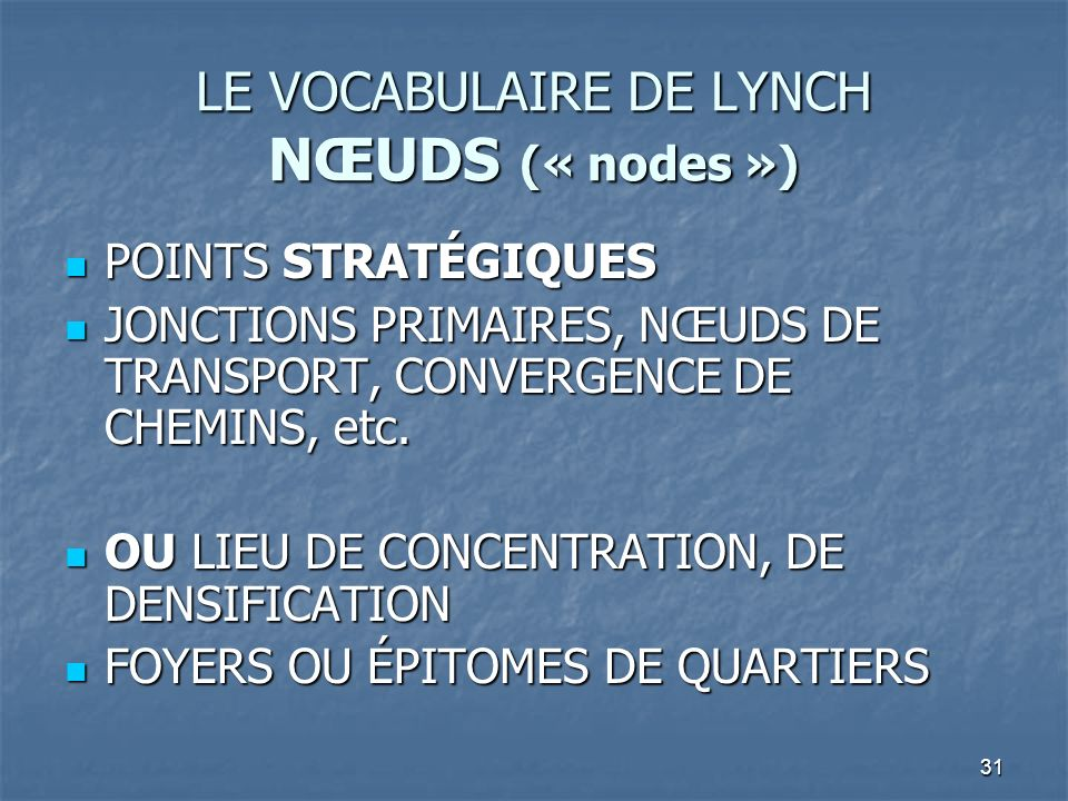 LE VOCABULAIRE DE LYNCH NŒUDS (« nodes »)