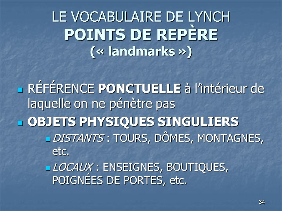 LE VOCABULAIRE DE LYNCH POINTS DE REPÈRE (« landmarks »)
