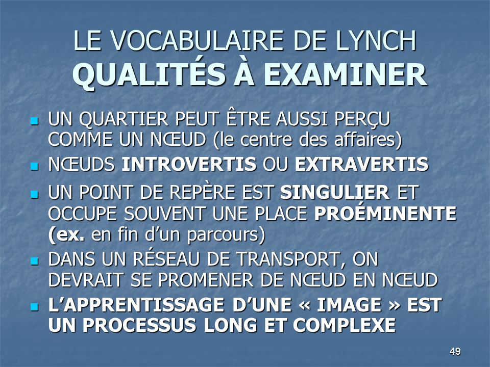 LE VOCABULAIRE DE LYNCH QUALITÉS À EXAMINER