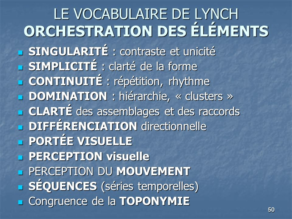 LE VOCABULAIRE DE LYNCH ORCHESTRATION DES ÉLÉMENTS