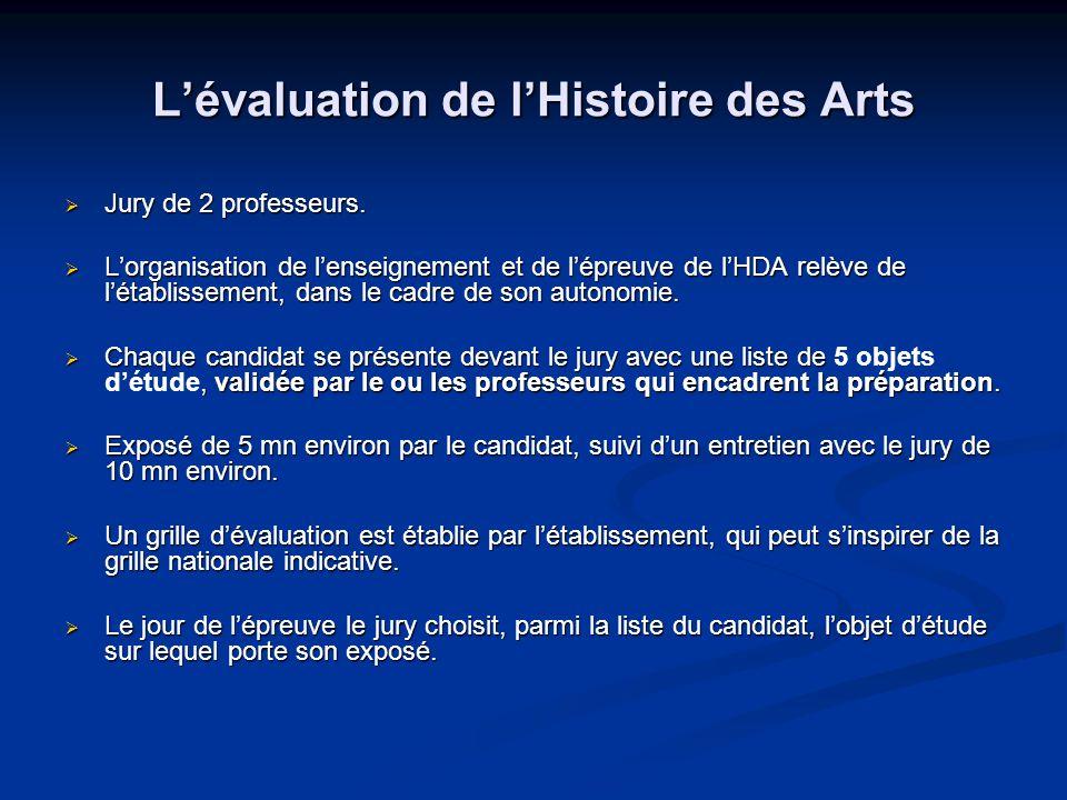 L'évaluation de l'Histoire des Arts