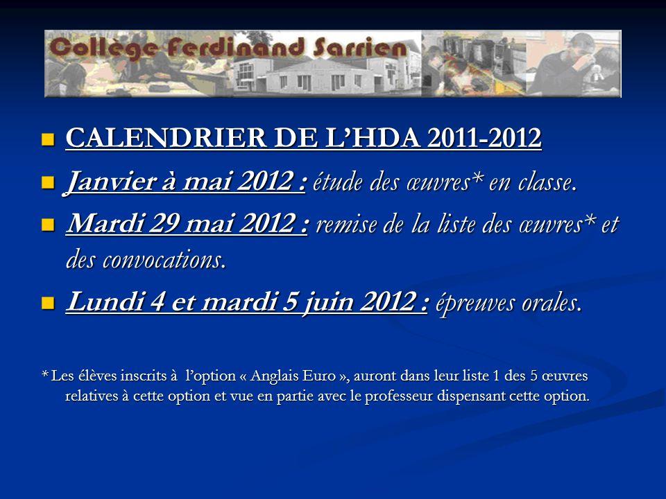 Janvier à mai 2012 : étude des œuvres* en classe.