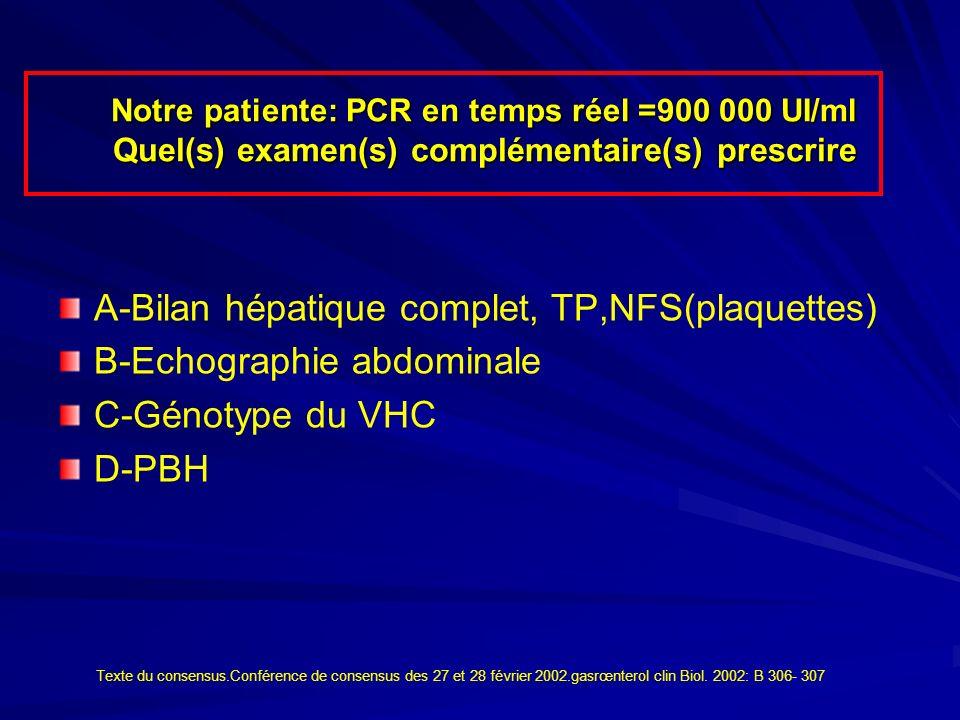 A-Bilan hépatique complet, TP,NFS(plaquettes) B-Echographie abdominale