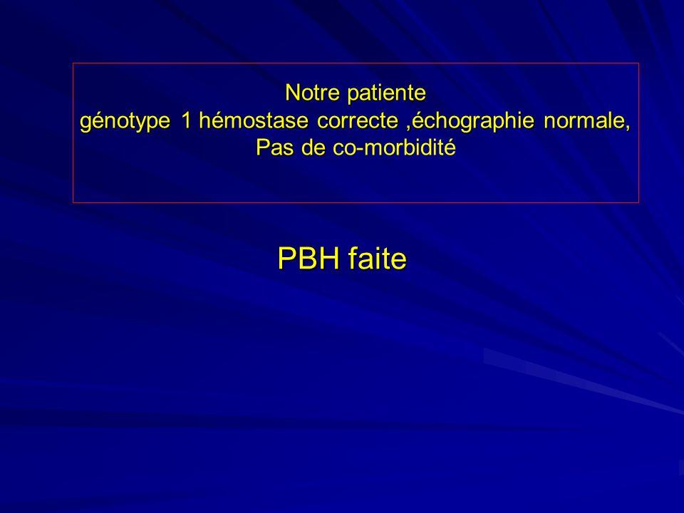 Notre patiente génotype 1 hémostase correcte ,échographie normale,
