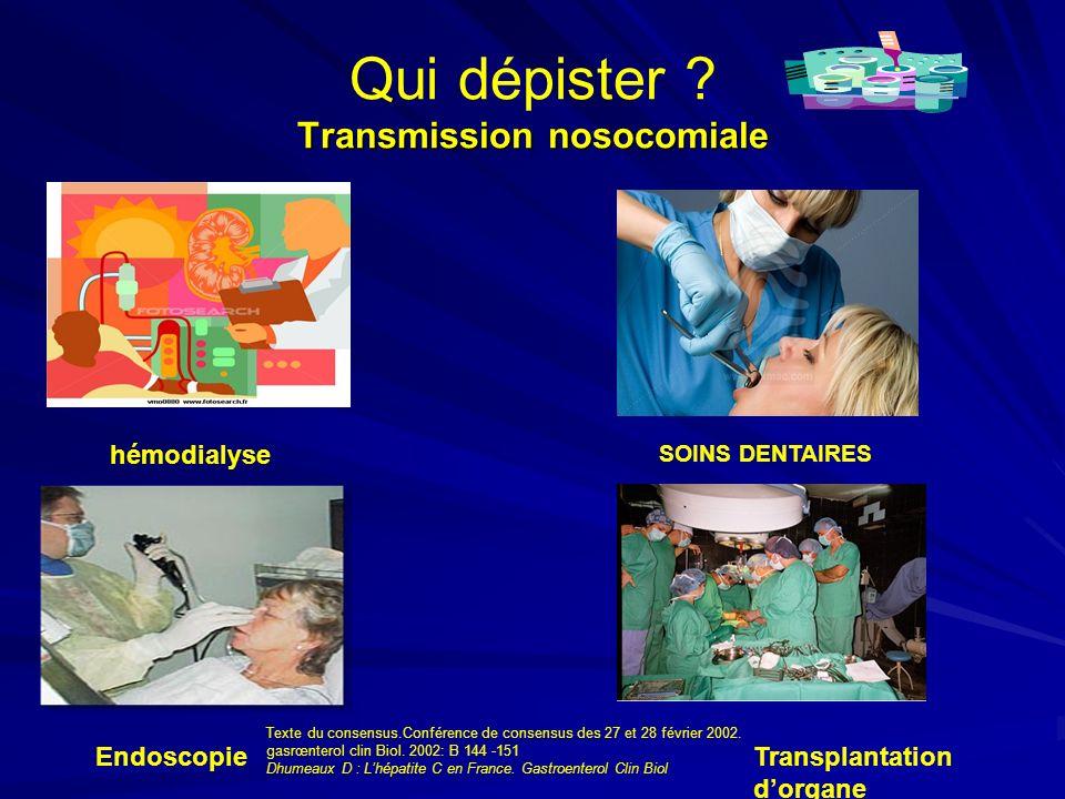 Qui dépister Transmission nosocomiale