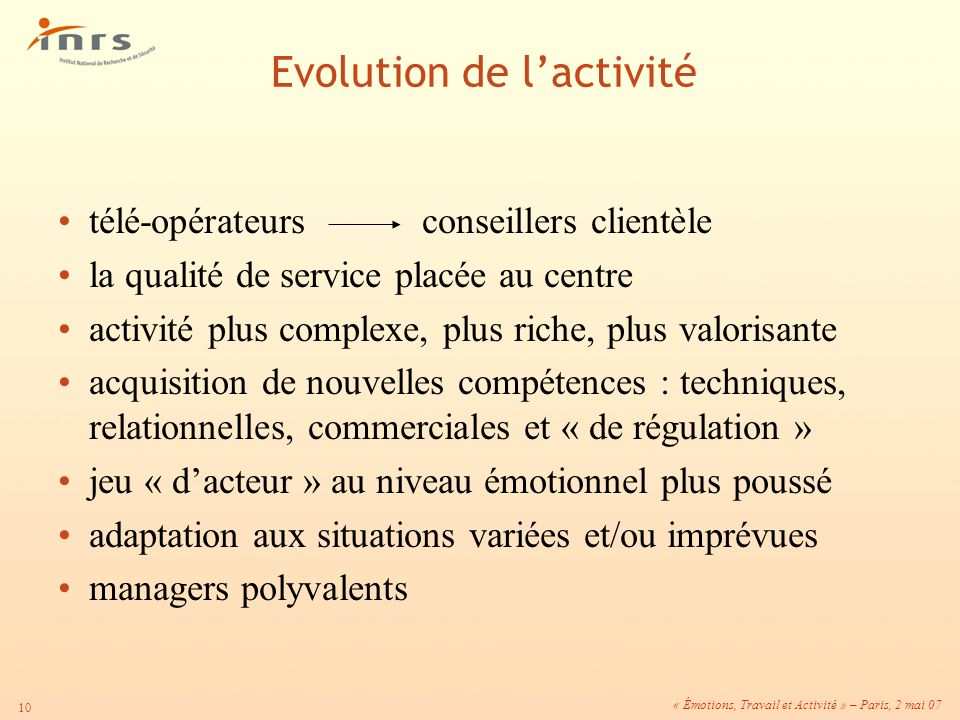 Evolution de l'activité