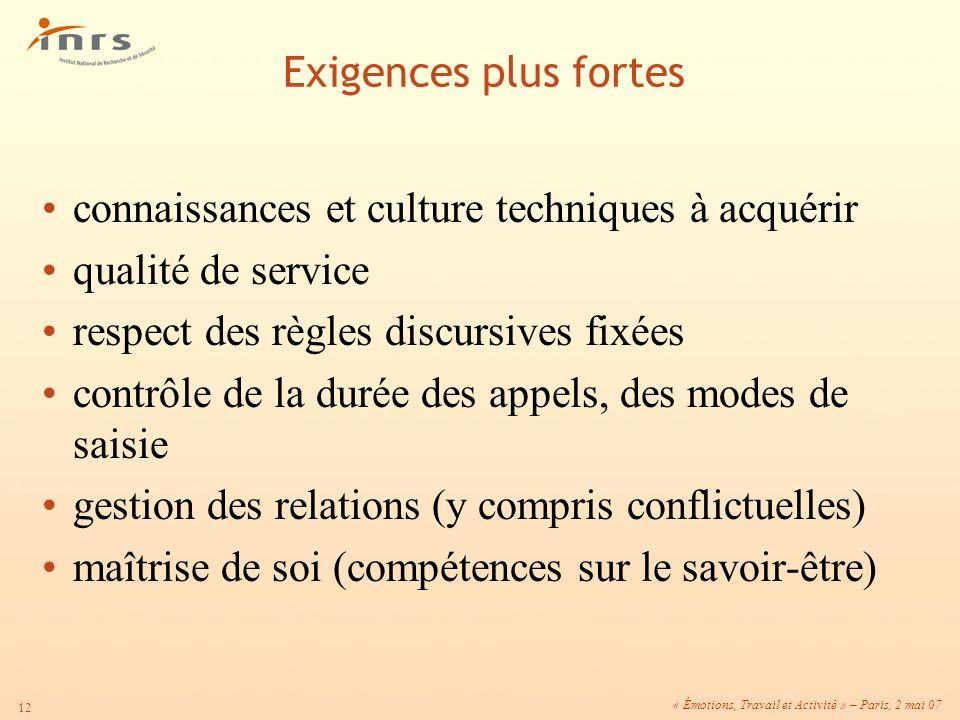 Exigences plus fortes connaissances et culture techniques à acquérir. qualité de service. respect des règles discursives fixées.