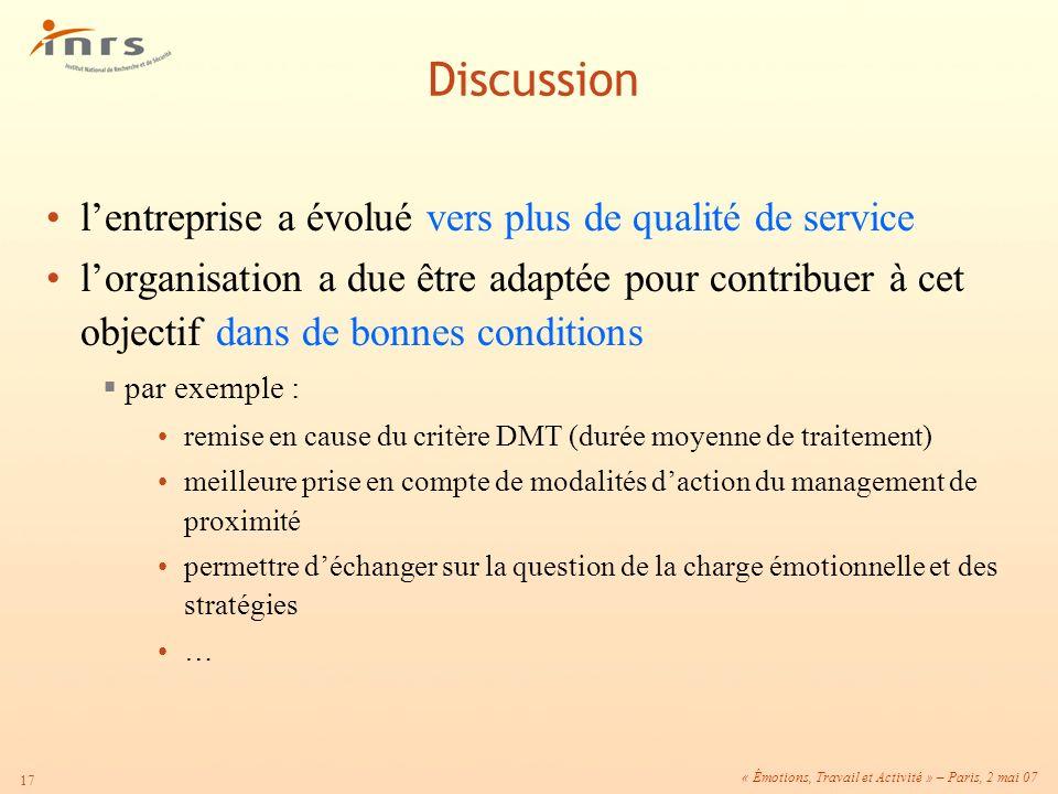 Discussion l'entreprise a évolué vers plus de qualité de service