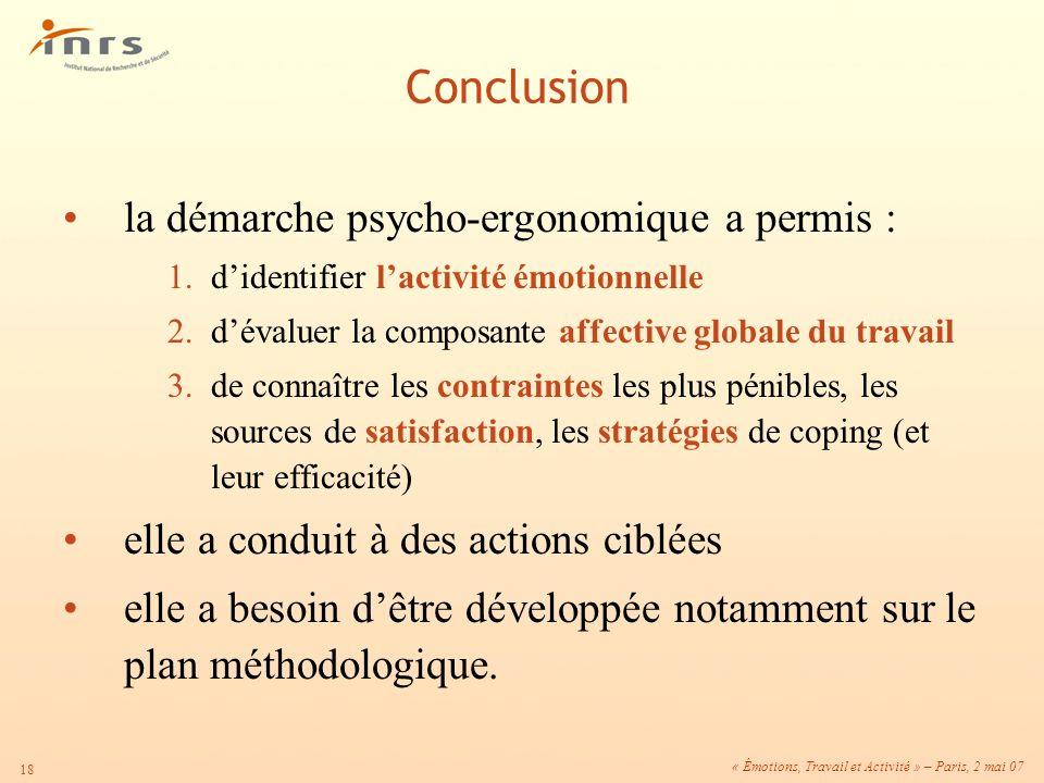 Conclusion la démarche psycho-ergonomique a permis :