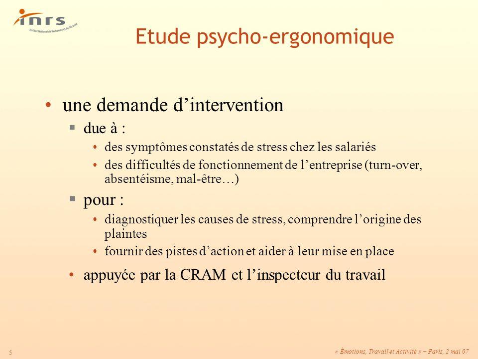 Etude psycho-ergonomique