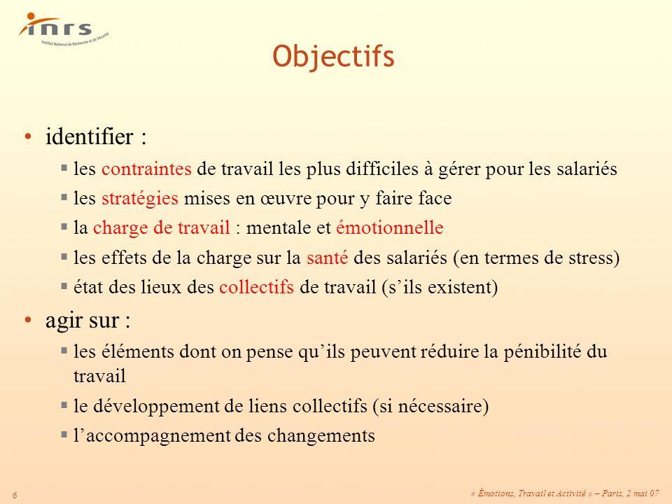 Objectifs identifier : agir sur :