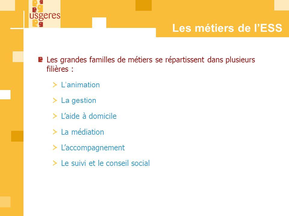 Les métiers de l'ESS Les grandes familles de métiers se répartissent dans plusieurs filières : L'animation.