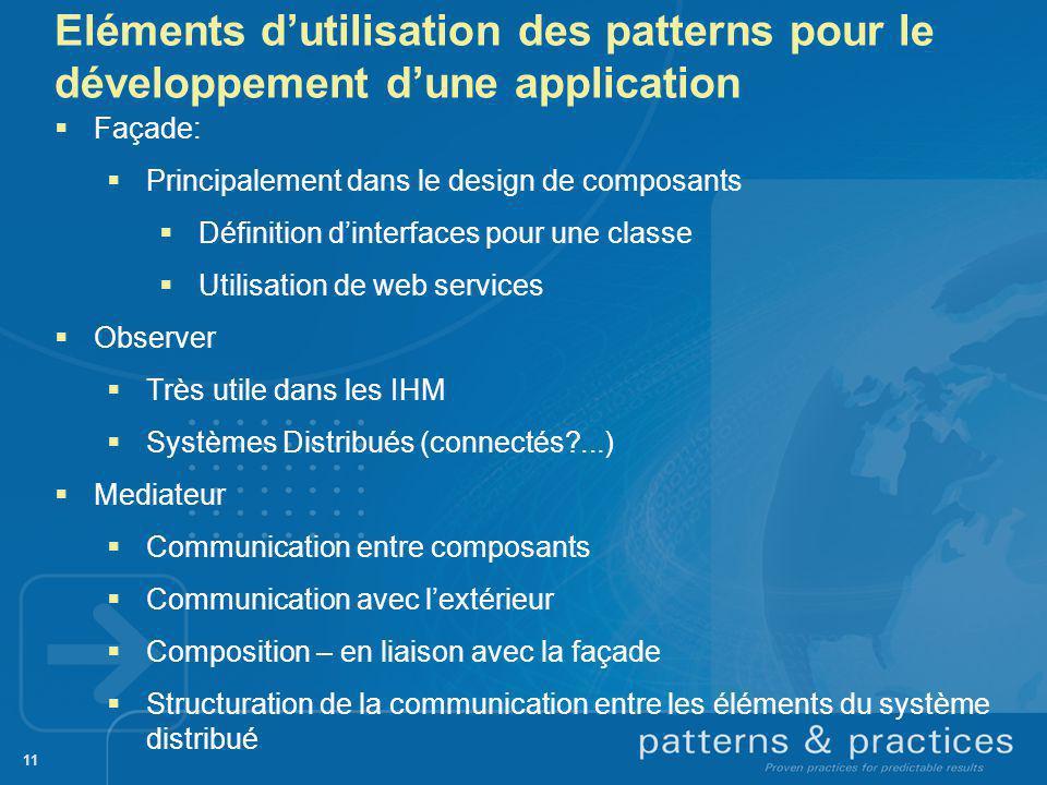 Eléments d'utilisation des patterns pour le développement d'une application