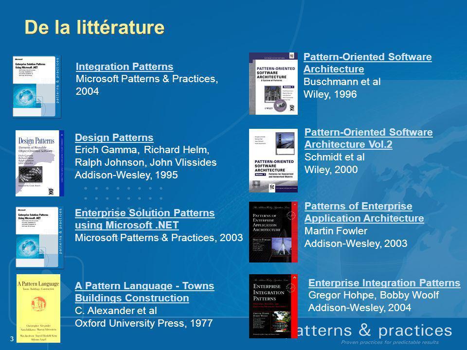De la littérature Pattern-Oriented Software Architecture Buschmann et al Wiley, 1996. Integration Patterns.
