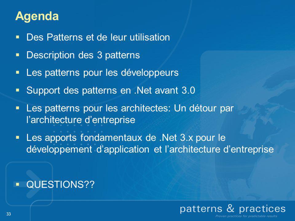 Agenda Des Patterns et de leur utilisation Description des 3 patterns