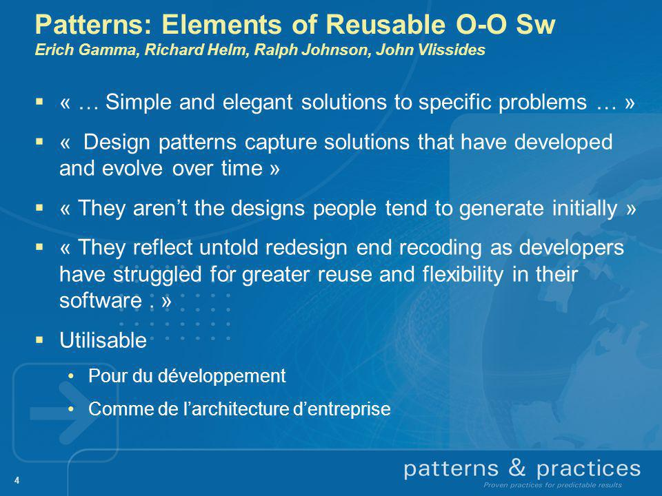 Patterns: Elements of Reusable O-O Sw Erich Gamma, Richard Helm, Ralph Johnson, John Vlissides