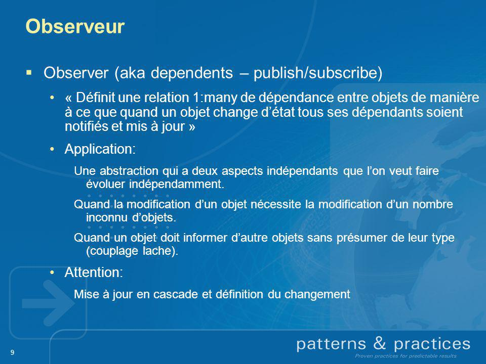 Observeur Observer (aka dependents – publish/subscribe)
