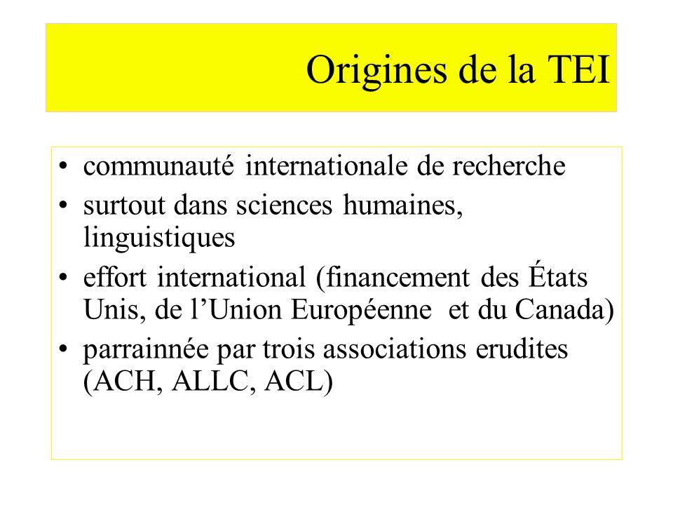 Origines de la TEI communauté internationale de recherche