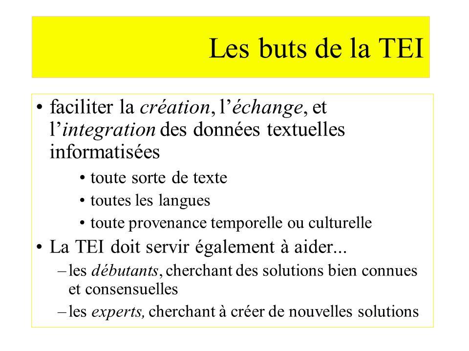 Les buts de la TEI faciliter la création, l'échange, et l'integration des données textuelles informatisées.