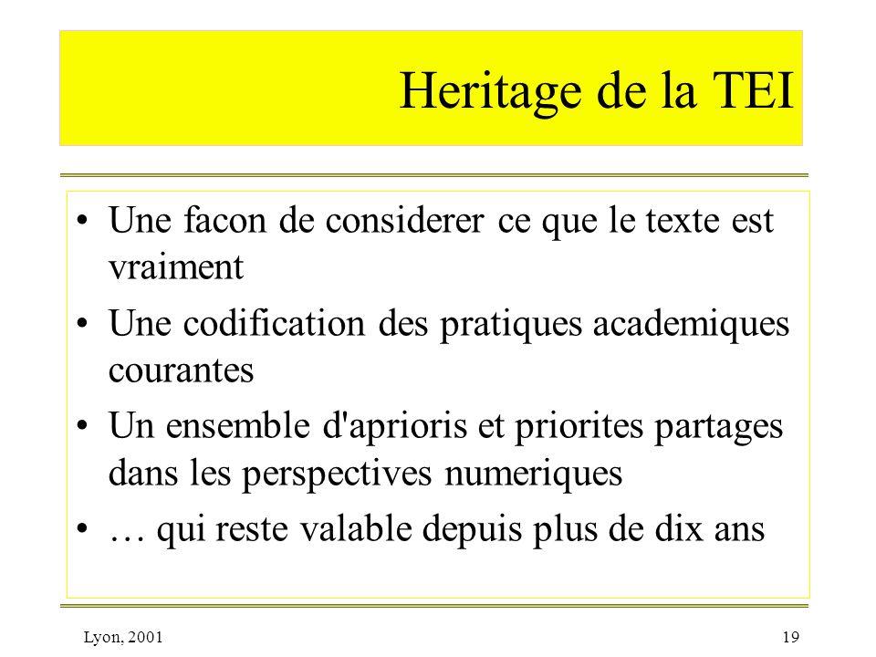 Heritage de la TEI Une facon de considerer ce que le texte est vraiment. Une codification des pratiques academiques courantes.